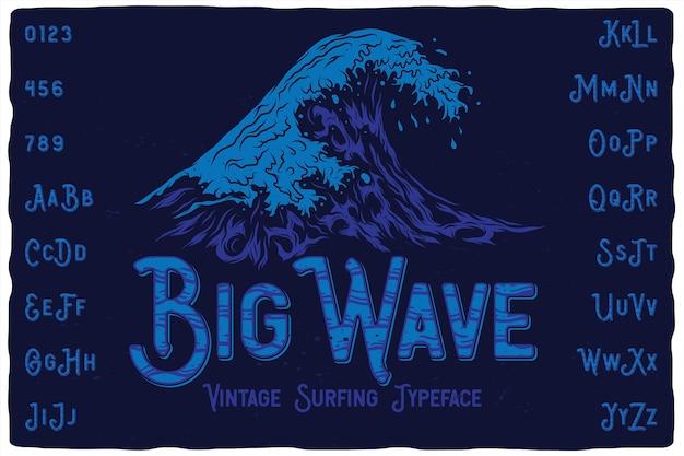 Carattere di etichetta vintage big wave
