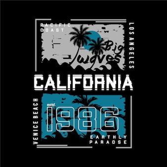 Grandi onde california abstarct silhouette tipografia grafica vettoriale