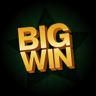 Banner big win per casinò online, poker, roulette, slot machine, giochi di carte. illustrazione vettoriale