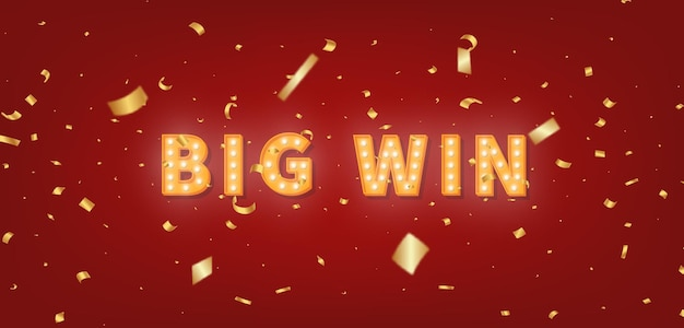 Testo di selezione oro big win. testo della lampadina 3d e coriandoli per le congratulazioni del vincitore.
