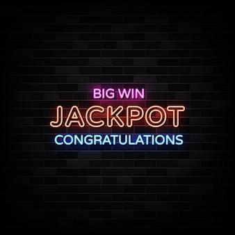 Insegne al neon di big win jackpot.