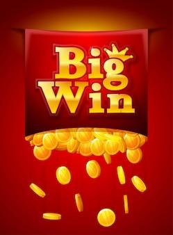 Grande poster di vittoria con monete d'oro che cadono. bandiera di grande vittoria. carte da gioco, slot e roulette.