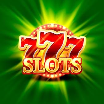 Grande vittoria slot 777 banner casinò sullo sfondo verde. illustrazione vettoriale