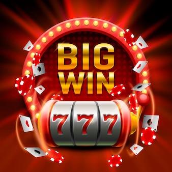 Grande vittoria slot 777 banner casinò. illustrazione vettoriale