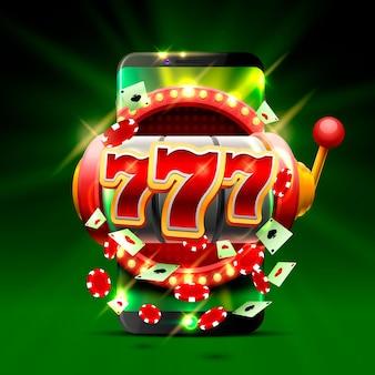 Grande vittoria slot 777 telefono casinò sullo sfondo verde. illustrazione vettoriale