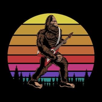 Bigfoot suona la chitarra al tramonto retrò