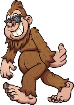 Bigfoot camminare e indossare occhiali da sole illustrazione