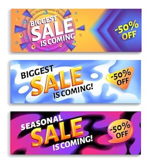 La più grande vendita è in arrivo: set di banner web pubblicitari orizzontali