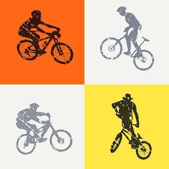 Illustrazione dell'uomo di bici e motociclisti. immagine in stile creativo e sportivo