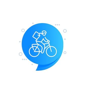 Icona della linea di consegna bici, corriere sulla bicicletta vettore