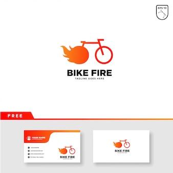 Bike logo con modello di fuoco e biglietto da visita Vettore Premium