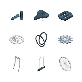 Parti di biciclette. raccolta isometrica delle icone del mozzo della sede della forcella della forcella della sella meccanica dei componenti delle biciclette