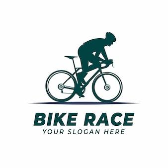 Modello di progettazione del logo bike race per i loghi del campionato