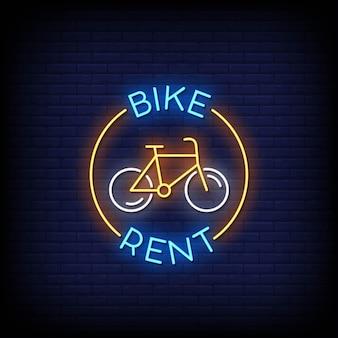Insegna al neon di noleggio bici sul muro di mattoni