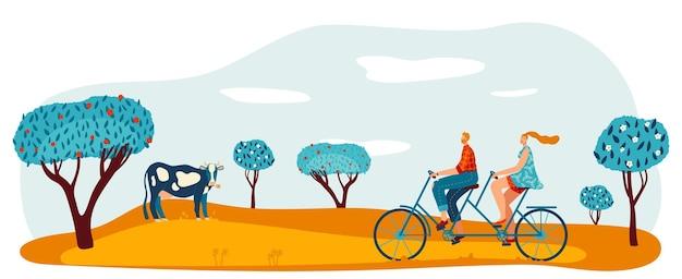 Giro in bicicletta al parco giardino illustrazione vettoriale uomo donna coppia personaggio in bicicletta in tandem a piedi stile di vita sano al campo all'aperto