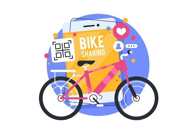 Illustrazione di bike sharing, applicazione di noleggio bici. moderne applicazioni online. illustrazione di affari di concetto.