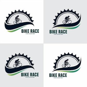 Ingranaggio e ciclista modello logo vintage bici