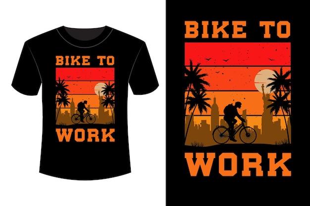 Bike to work shirt design vintage retrò
