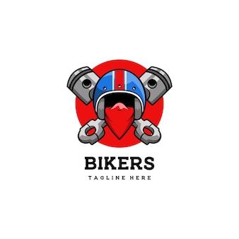 Emblema del casco del club del motociclista teschio del motore del simbolo del distintivo del club retrò