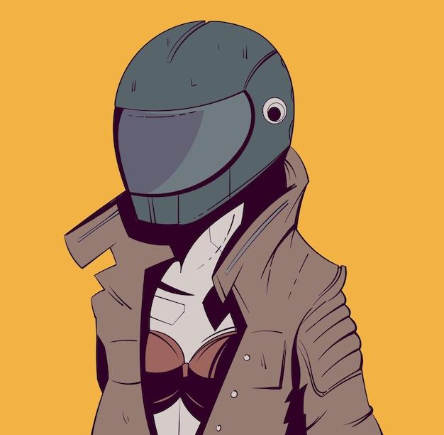 Motociclista in casco e giacca di pelle in stile cyberpunk sci-fi