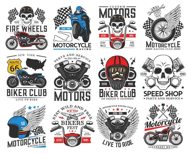 Icone di motociclisti, moto e corse. motorsport club, servizio di riparazione e restauro di biciclette personalizzate, negozio di pezzi di ricambio, emblema vettoriale retrò del festival dei motociclisti. motore del motociclo, cranio umano e ali