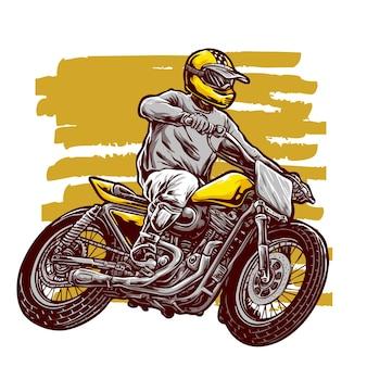 Il motociclista guida un'illustrazione di motocicletta personalizzata su pista