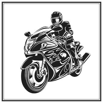 Motociclista in sella a una moto. emblema di evento o festival di motociclisti.