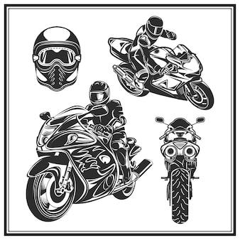 Motociclista che guida un insieme del motociclo. emblema di evento o festival di motociclisti.