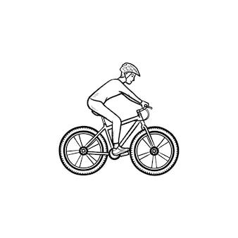 Icona di doodle di contorno disegnato a mano di mountain bike di guida del motociclista. competizioni in bicicletta, concetto di ciclismo in bicicletta