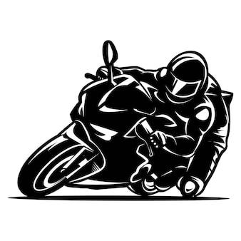 Motociclista in sella a una gara di moto sportiva