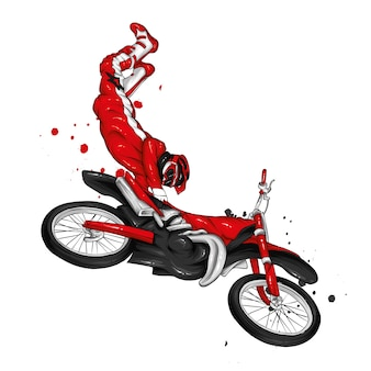 Biker in sella a una moto d'epoca.