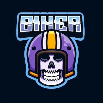 Illustrazione del logo della testa del cranio del motociclista