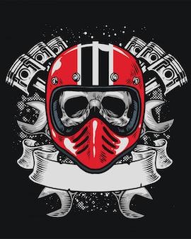 Cranio di motociclista con nastro bianco per il testo