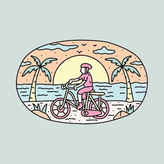Concetto di illustrazione del motociclista e del tramonto