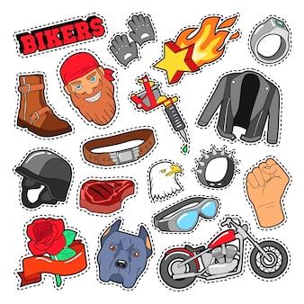 Elementi di motociclisti con chopper e moto per stampe, adesivi, toppe, distintivi. doodle di vettore