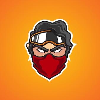 Logo della mascotte di bikers head e sport