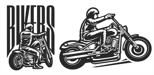 Logo di motociclisti con posa completa, moto d'epoca, illustrazione piatta vettoriale