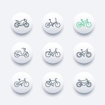 Set di icone della linea di biciclette, bicicletta, ciclismo, moto, moto, bici grassa, scooter, bici elettrica, icone moderne rotonde, illustrazione vettoriale