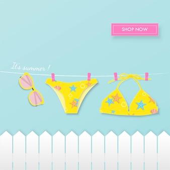 Priorità bassa di arte di carta estate bikini. Vettore Premium