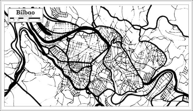 Mappa della città di bilbao spagna in stile retrò. mappa di contorno. illustrazione di vettore.