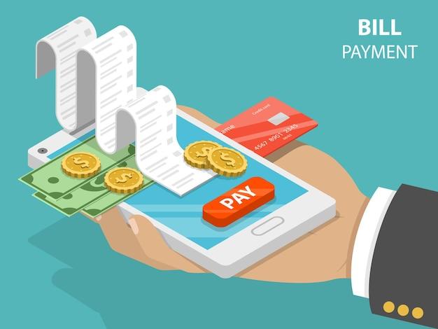 Concetto isometrico piatto di pagamento delle bollette di pagamento mobile, acquisti, operazioni bancarie.