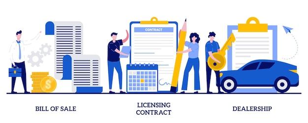 Fattura di vendita, contratto di licenza, concetto di concessionaria con persone minuscole. insieme dell'illustrazione di documenti aziendali. contratto di proprietà intellettuale, rivenditore autorizzato, metafora della firma elettronica.
