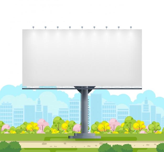 Spazio in bianco del tabellone per le affissioni sulla via della città su fondo bianco