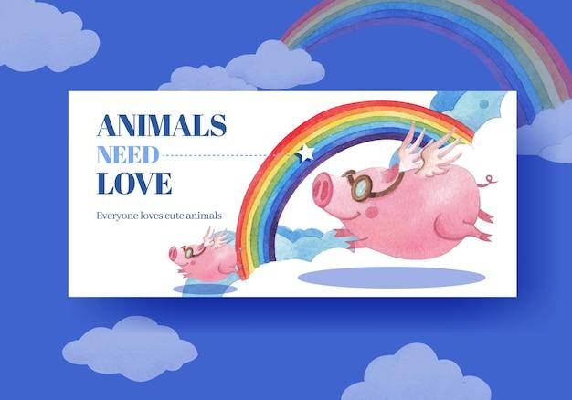 Modello di tabellone per le affissioni con illustrazione dell'acquerello di concetto di animali felici