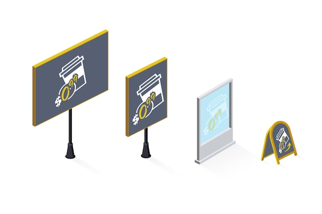 Set di illustrazioni isometriche di cartelloni pubblicitari