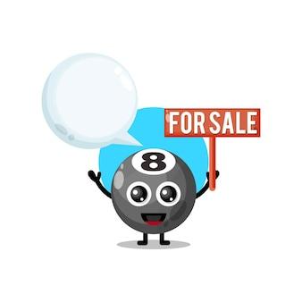 Palla da biliardo in vendita mascotte simpatico personaggio
