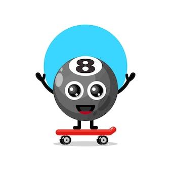 Palla da biliardo skateboard simpatico personaggio mascotte