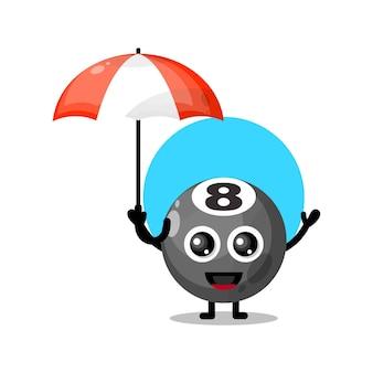 Palla da biliardo ombrello simpatico personaggio mascotte