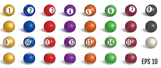 Biliardo, collezione palle da biliardo.