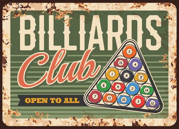 Poster arrugginito o retrò di piastra metallica del club di biliardo piscina snooker